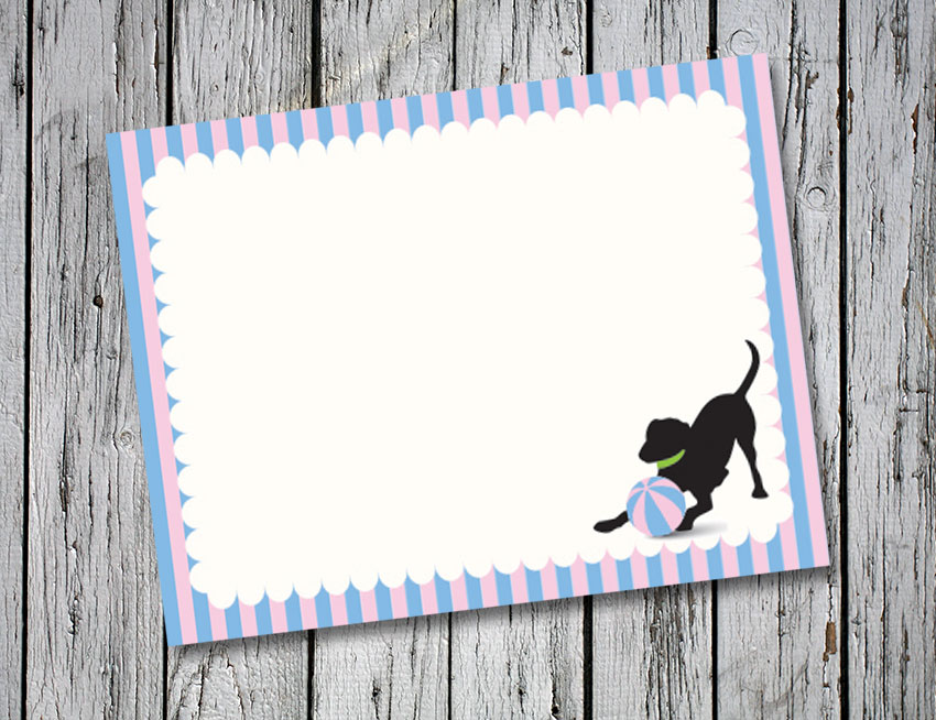 Blue and Pink Stripe Thank You Notes
