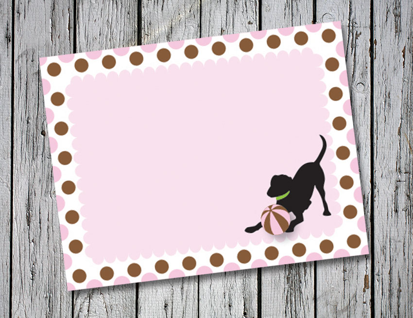 Pink and Brown Circle Thank You Notes
