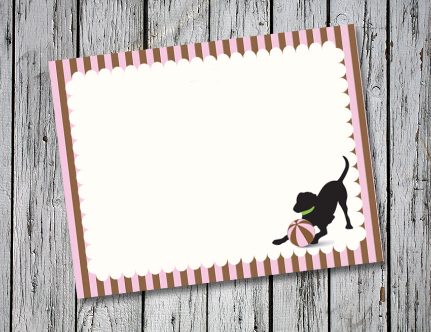 Pink and Brown Stripe Thank You Notes