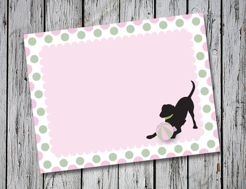 Pink and Green Circle Thank You Notes