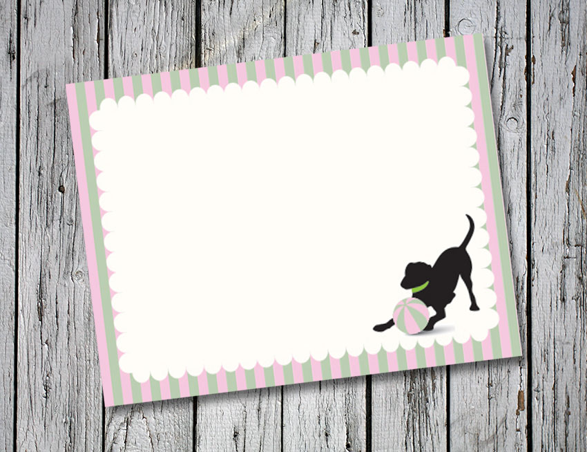 Pink and Green Stripe Thank You Notes