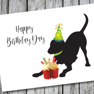 Baby Hank's Black Labrador Happy Birthday Card