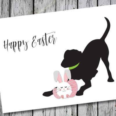 Baby Hank's Black Labrador Happy Easter Card