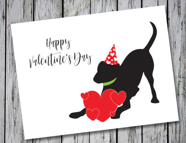 Baby Hank's Black Labrador Happy Valentine's Day Card