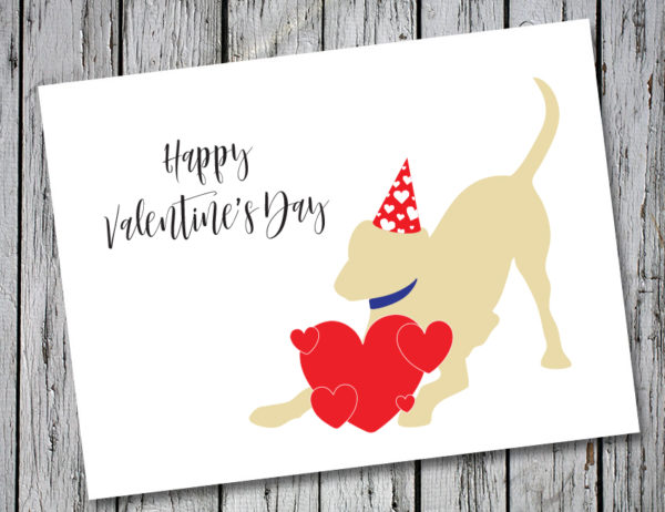 Baby Hank's Yellow Labrador Happy Valentine's Day Card